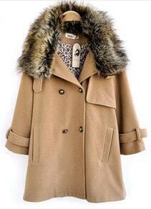 Camel Fur Lapel Long Sleeve Pockets Buttons Coat