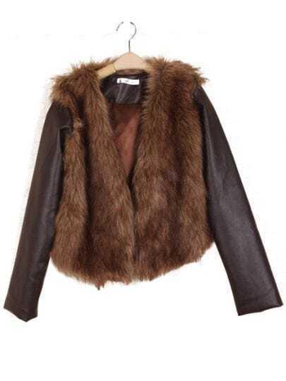 Coffee Contrast Leather Long Sleeve Fur Vest Coat