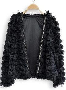 Black Long Sleeve Chain Tassel Embellished Coat