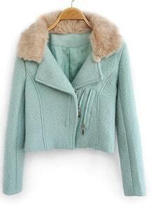 Light Green Fur Lapel Long Sleeve Zipper Crop Coat