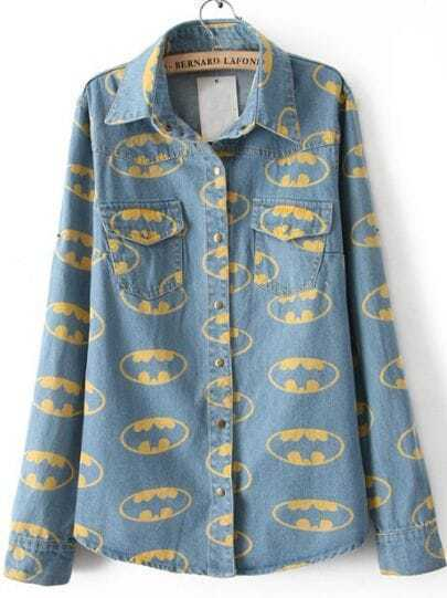 Blue Lapel Opening Mouth Print Denim Blouse