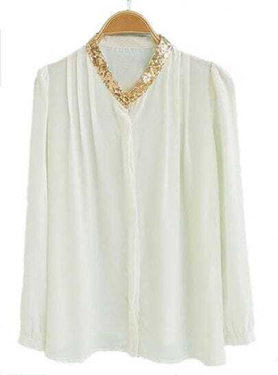 Beige High Neck Long Sleeve Sequined Chiffon Blouse