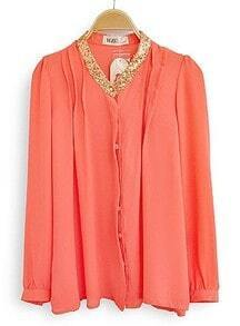 Orange High Neck Long Sleeve Sequined Chiffon Blouse