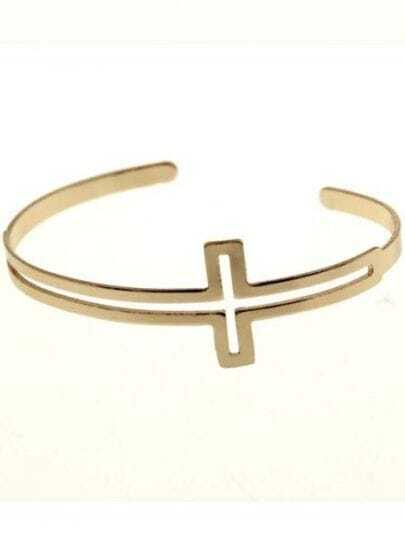 Gold Hollow Cross Cuff Bracelet