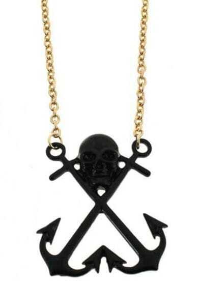 Black Skull Anchor Long Necklace