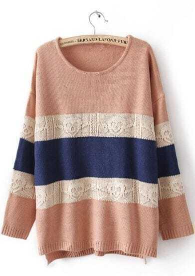 Pink Long Sleeve Striped Skull Pattern Sweater