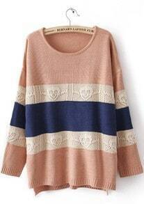 Pink Long Sleeve Striped Skull Pattern Sweater