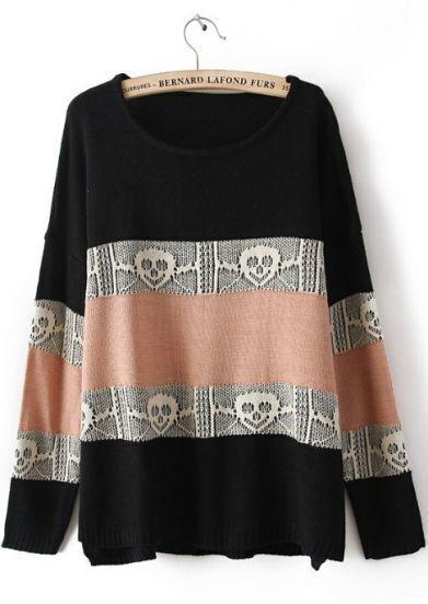 Black Long Sleeve Striped Skull Pattern Sweater