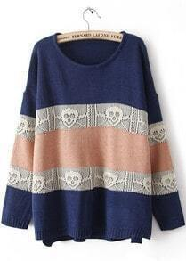 Blue Long Sleeve Striped Skull Pattern Sweater