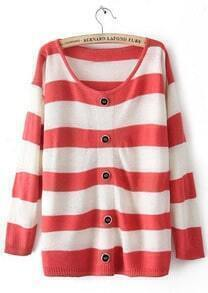 Red White Striped Long Sleeve Buttons Cardigan Sweater