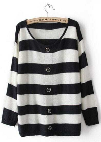 Black White Striped Long Sleeve Buttons Cardigan Sweater