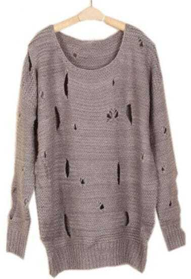 Grey Batwing Long Sleeve Ripped Loose Sweater