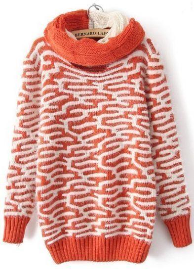 Orange Long Sleeve Asymmetrical Pattern Mohair Sweater