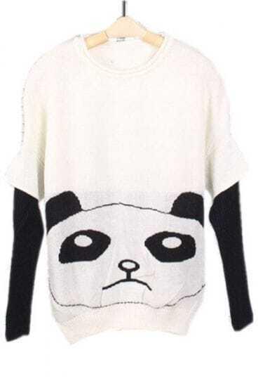 White Batwing Long Sleeve Panda Print Sweater
