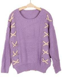 Purple Long Sleeve Puttee Loose Pullovers Sweater