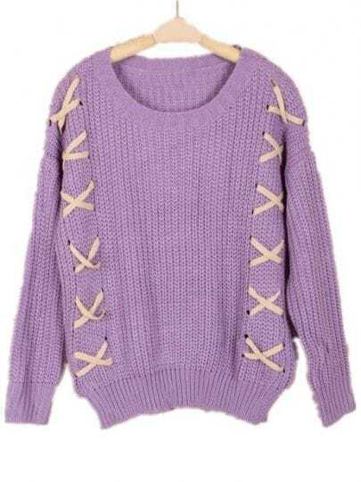 Purple Long Sleeve Puttee Loose Pullovers Sweater