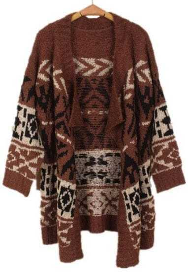 Coffee Long Sleeve Asymmetrical Geometric Cardigan Sweater