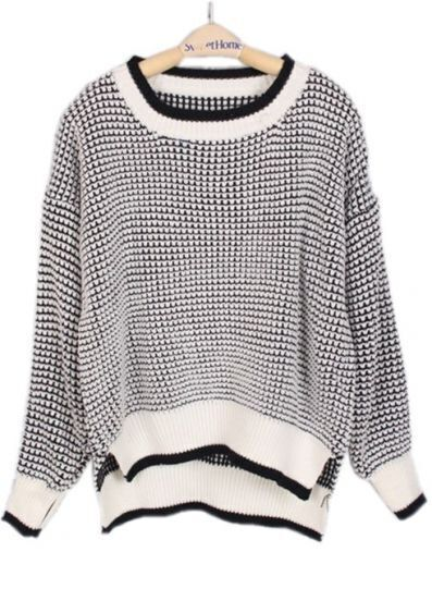 Black White Long Sleeve Striped Loose Sweater