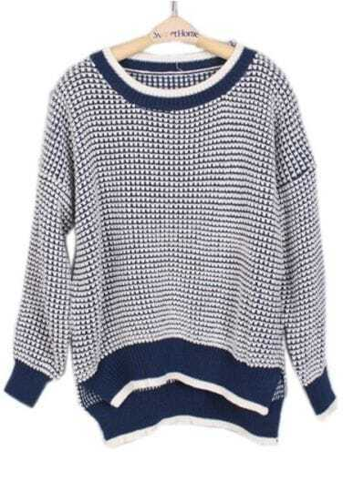 Blue White Long Sleeve Striped Loose Sweater