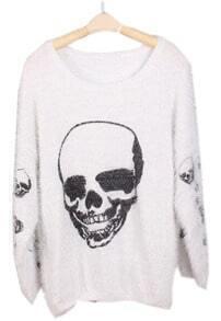 White Long Sleeve Skull Print Mohair Sweater