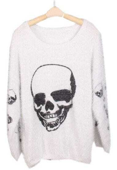 White Long Sleeve Skull Print Mohair Sweater