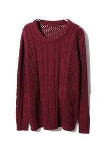 Wine Red Long Sleeve Hollow Loose Pullovers Sweater