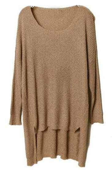Coffee Long Sleeve Split Asymmetrical Sweater