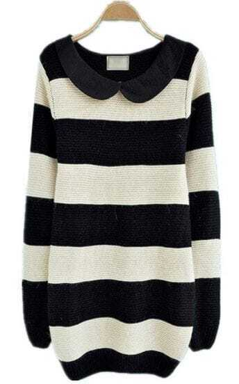 Black White Striped Long Sleeve Pullovers Sweater
