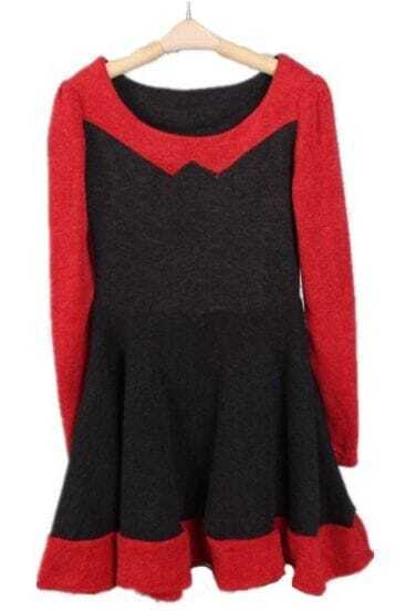 Red Black Long Sleeve Ruffles A Line Dress