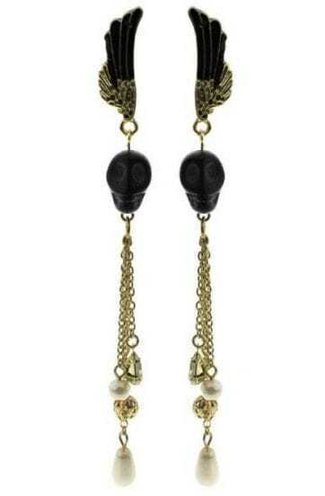 Black Skull Gold Chain Wing Stud Earrings
