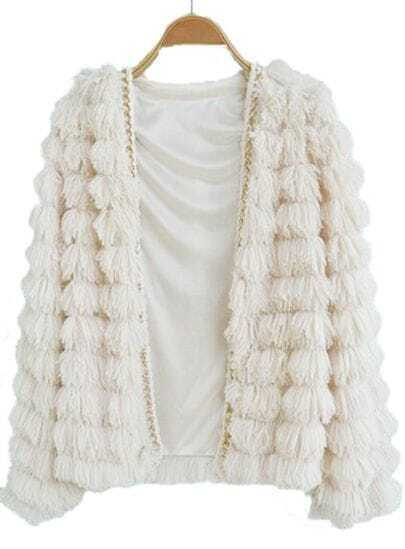 White Long Sleeve Chain Tassel Embellished Coat