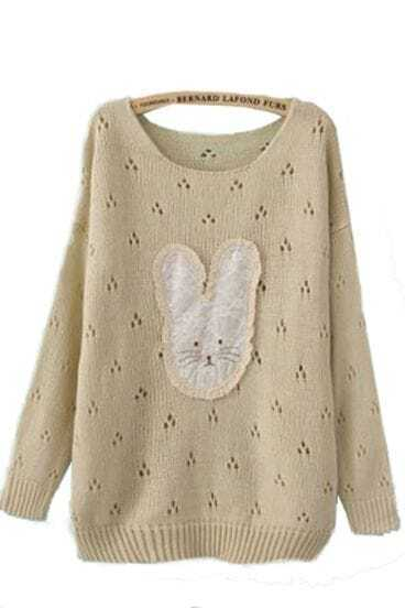 White Long Sleeve Lace Rabbit Pullovers Sweater