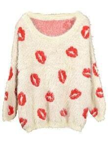 Apricot Long Sleeve Red Lips Print Mohair Sweater
