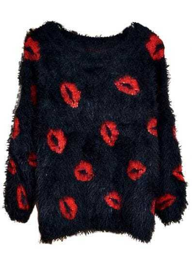 Black Long Sleeve Red Lips Print Mohair Sweater
