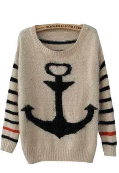 Black Striped Long Sleeve Anchor Print Mohair Sweater