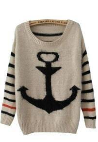 Black Striped Long Sleeve Anchor Print Mohair Sweater