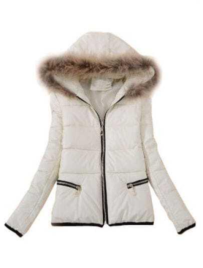White Fur Hooded Long Sleeve Zipper PU Coat