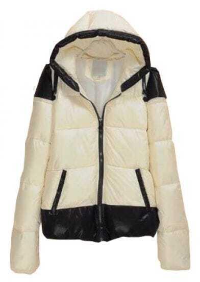 White Hooded Long Sleeve Zipper Contrast Trims Coat