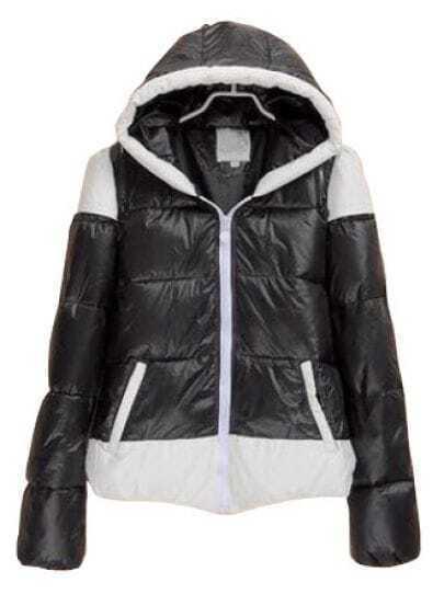 Black Hooded Long Sleeve Zipper Contrast Trims Coat