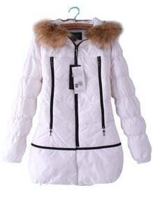 White Removable Fur High Neck Zipper Down Coat