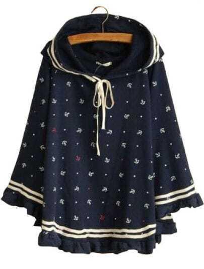 Navy Hooded Long Sleeve Anchor Print Ruffles Sweatshirt
