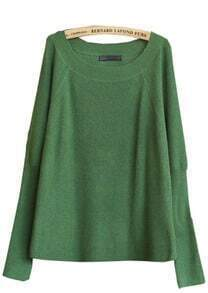 Green Round Neck Batwing Long Sleeve Pullovers Sweater