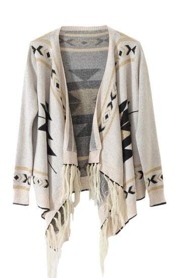 Light-cream Long Sleeve Asymmetrical Cardigan Sweater