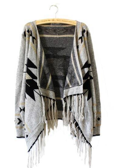 Light Grey Tribal Geometrical Pattern Fringe Hem Cardigan