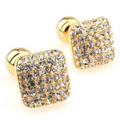 White Crystal Gold Mushrooms Cufflinks