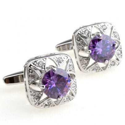Purple Gemstone Silver Cufflinks