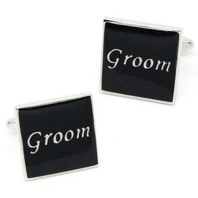 Black Groom Silver Square Cufflinks