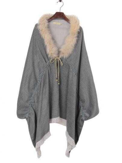 Grey Fox Fur Trims Tassel Hem Cape