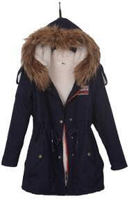 Navy Fur Hooded Zipper Embellished Fleece Inside Military Coat