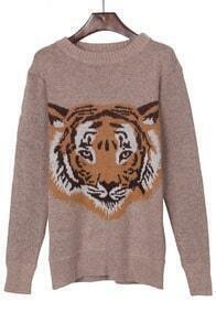 Khaki Round Neck Tiger Face Pattern Jumper Sweater